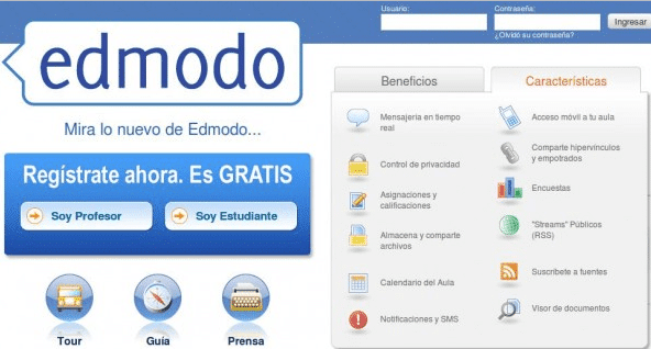 Usos de Edmodo como aula virtual, red social y blog