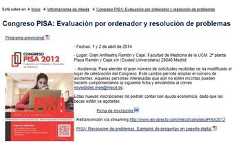 Congreso PISA 2012: Evaluación por ordenador y resolución de problemas