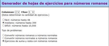 Hojas de ejercicios con números romanos