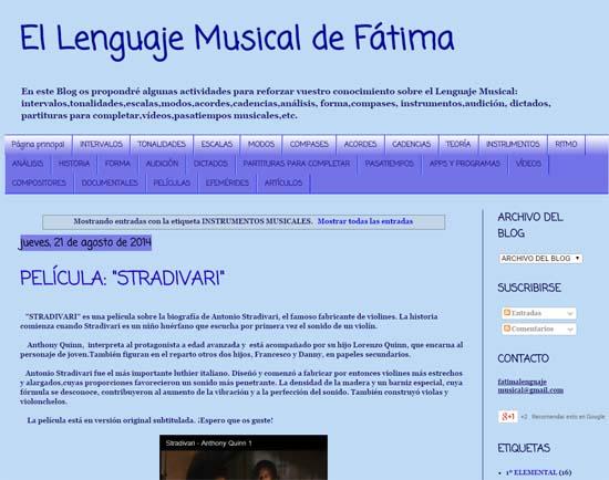 Refuerzo en música desde el Blog de Lenguaje Musical de Fátima