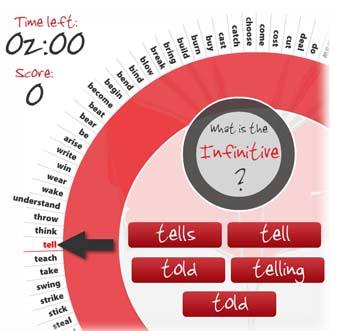 Irregular Verb Whell Game tiempos verbales en inglés