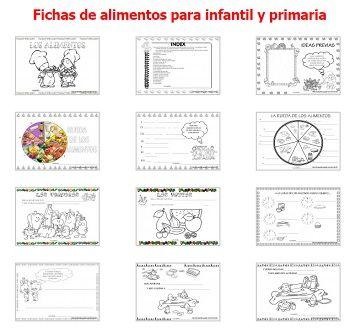 Fichas sobre los alimentos para infantil