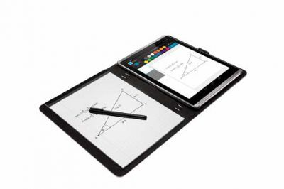 HP Pro Slate 12 Paper Folio with HP Pro Slate 12 Tablet, Right facing, Open with stylus