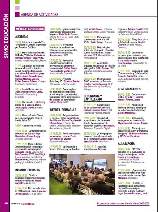 ¡Agenda de actividades de SIMO EDUCACIÓN 2015!, una cita imprescindible