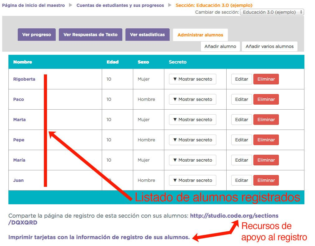 Code.org alumnos registrados