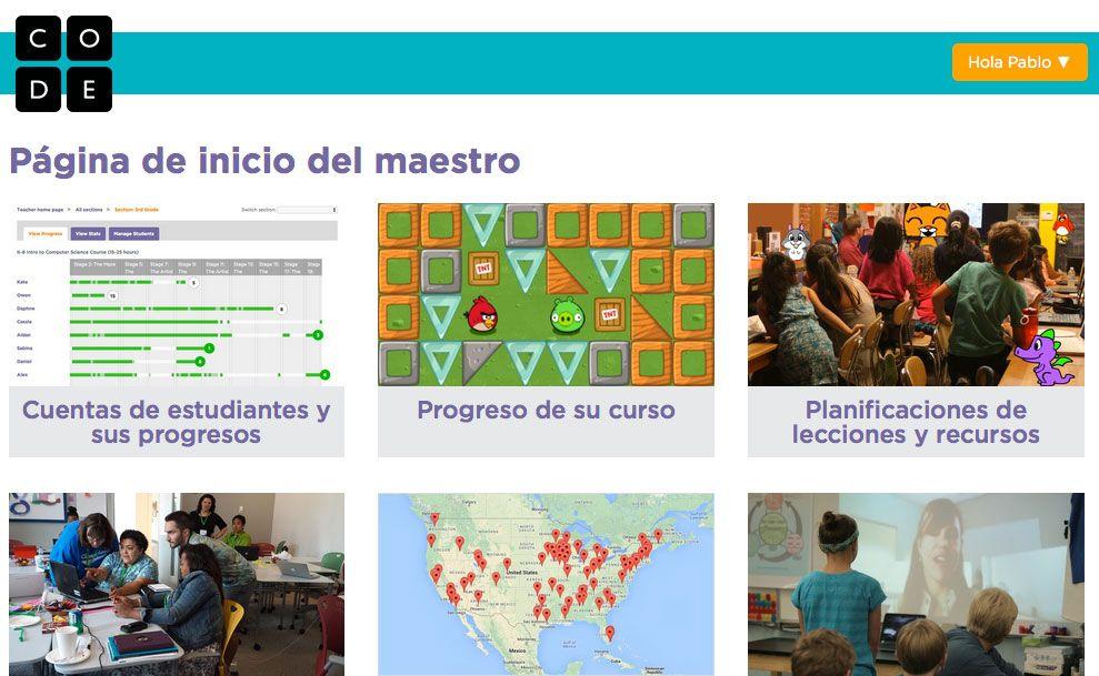 Code.org página de inicio para maestros