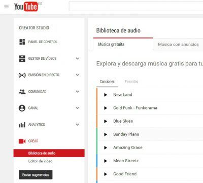 YouTube Bancos de música