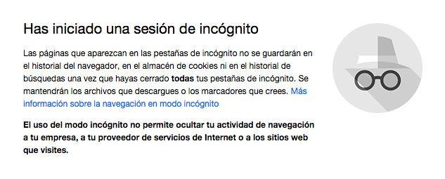 Sesión de incógnito en Chrome