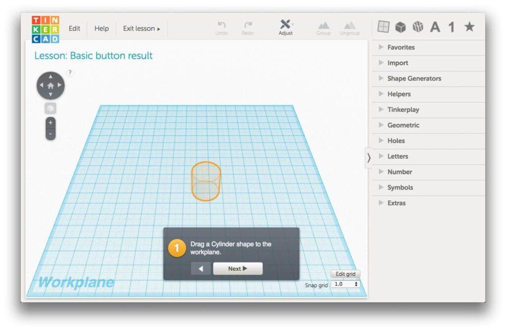 tinkercad tutorial button lesson