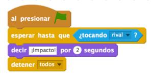Código en Scratch del Impacto de los coches