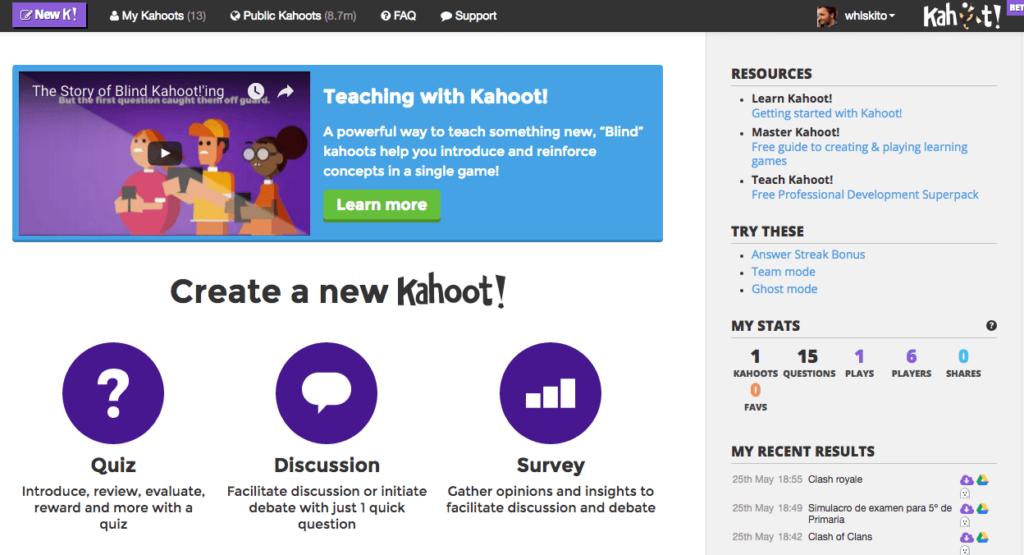 Kahoot! en clase main web