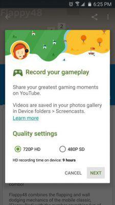 Google Play Juegos, hacer screencast