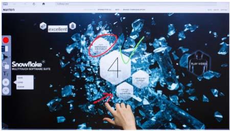 Monitores interactivos de Hitachi con el software Snowflake 2