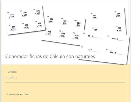 materiales para el aula Generador de ejercicios de matemáticas