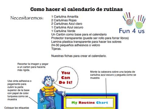 Calendario de rutinas