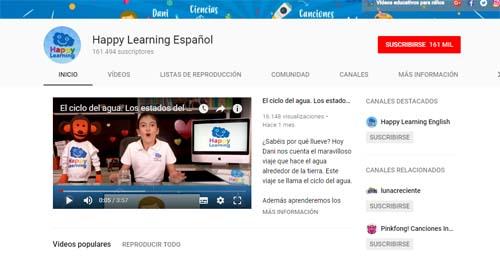 Happy Learning Español: canales de YouTube para Infantil y Primaria