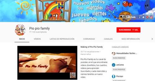 PioPio Family: canales de YouTube para Infantil y Primaria