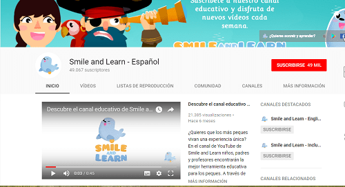 Canales de YouTube para Infantil Smile and Learn