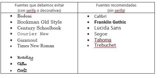 5. Usa siempre fuentes sin serifa
