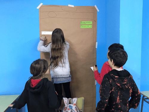Alumnos trabajando el cuento de caperucita roja