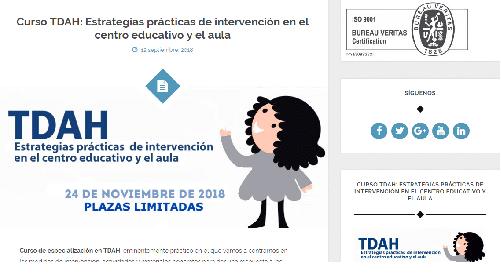 Curso TDAH: Estrategias prácticas de intervención en el centro educativo y el aula