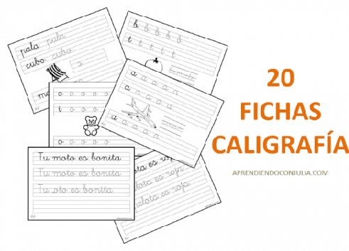 20 fichas de caligrafía para niños