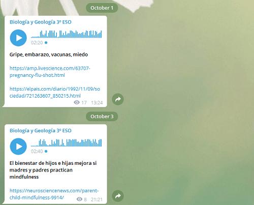 Telegram para enseñar en Secundaria Biología y Geología