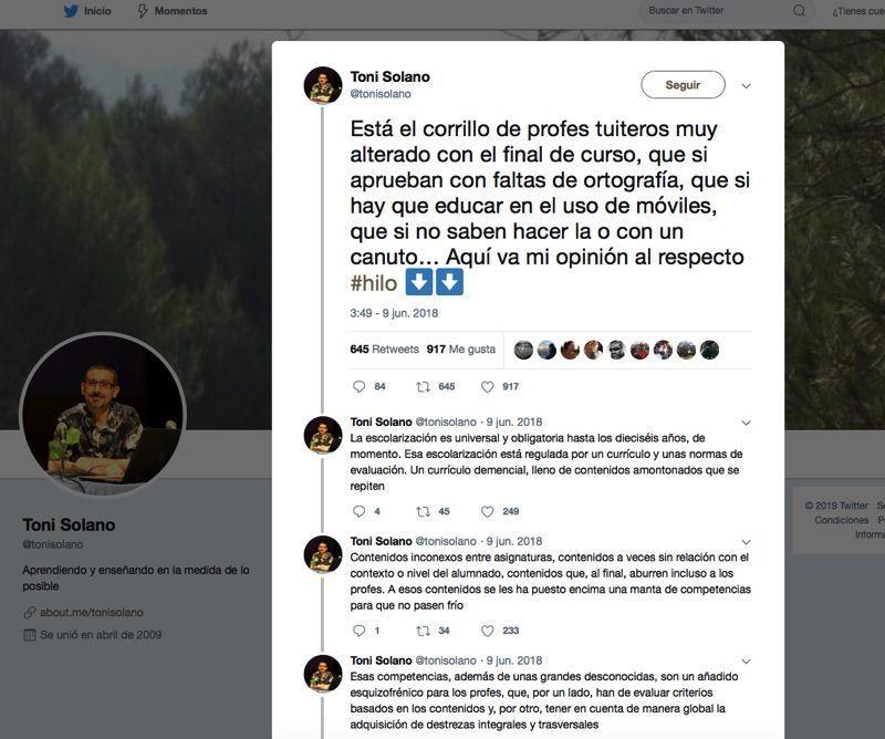Twitter sobre educación Toni Solano