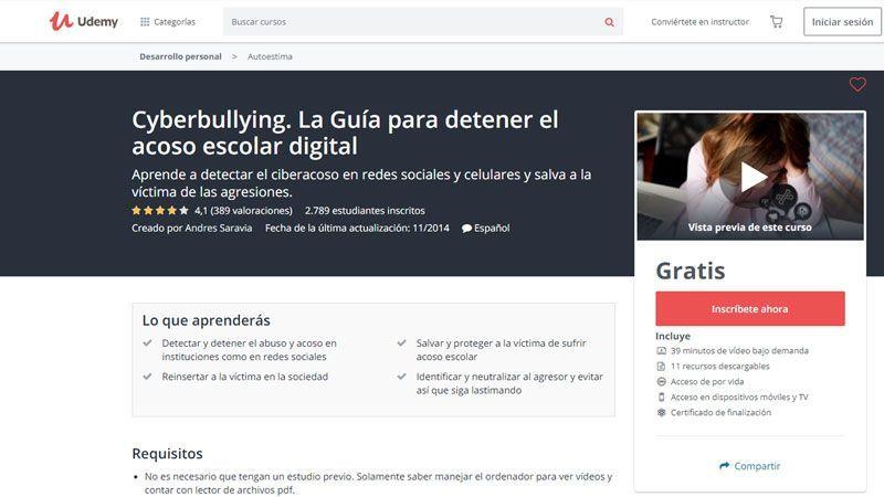 Udemy cuenta con cursos sobre acoso escolar y ciberbullying online