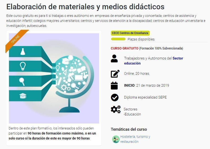 Elaboración de materiales y medios didácticos