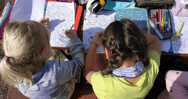 alumnos trabajando en el campo