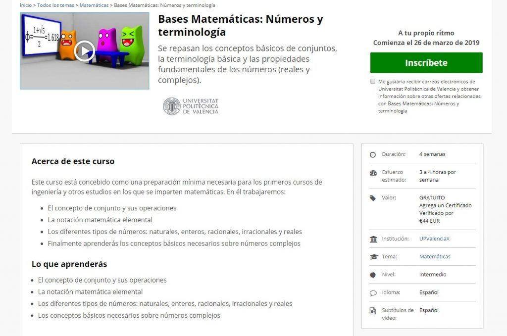 Bases Matemáticas: números y terminología