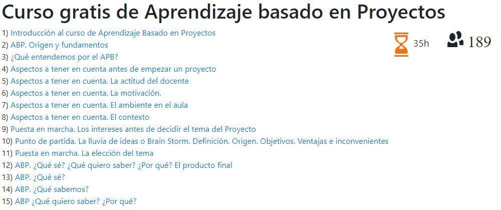 Curso gratis de Aprendizaje Basado en Proyectos