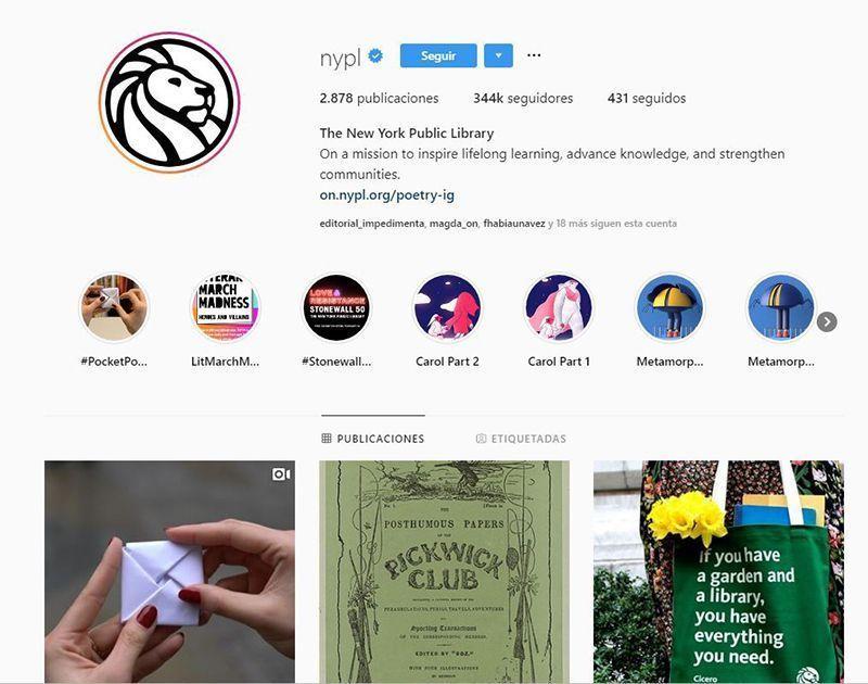 Biblioteca pública de Nueva York clásicos a través de Instagram