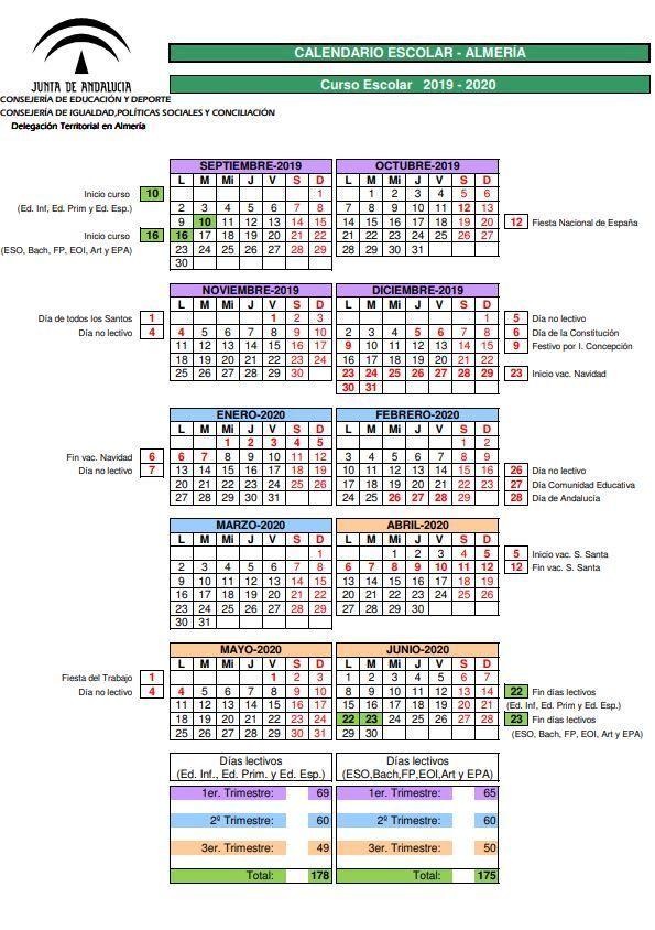 Calendario escolar Andalucía