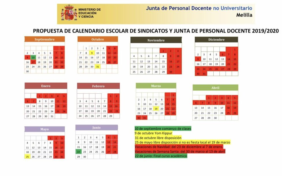 Calendario 2020 Marzo Abril.Calendario Escolar 2019 2020 En Melilla Educacion 3 0
