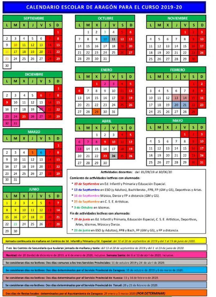 Calendario Escolar Europa 2019.Calendario Escolar 2019 2020 En Aragon Educacion 3 0