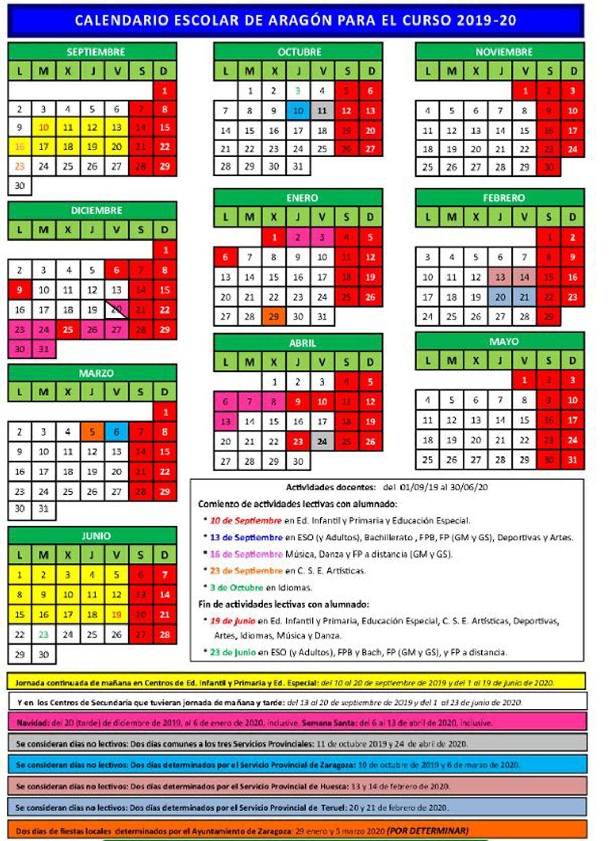 Calendario Escolar Aragon 2020.Calendario Escolar 2019 2020 En Aragon Educacion 3 0