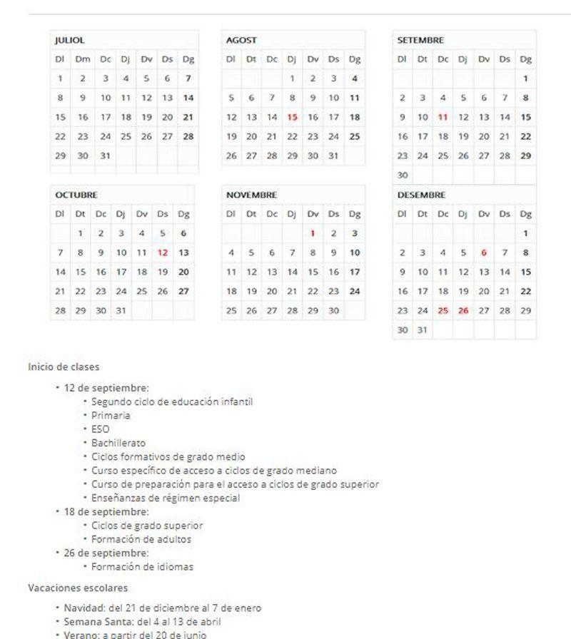 calendario escolar Cataluña