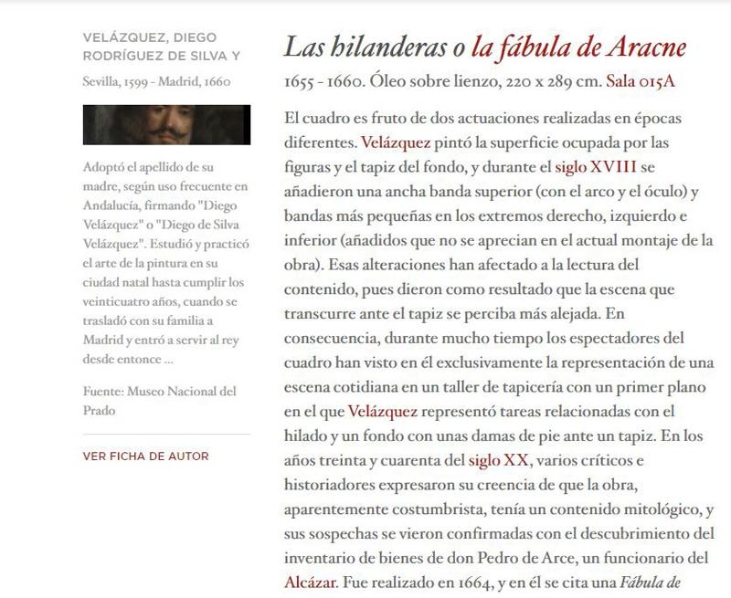 Ficha Las Hilanderas Museo del Prado