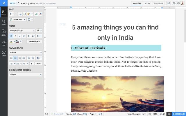 Zoho Writer procesadores de texto online gratuitos