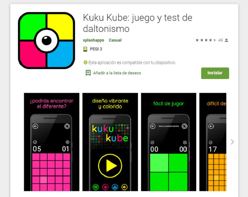 Kuku Kube apps daltonismo