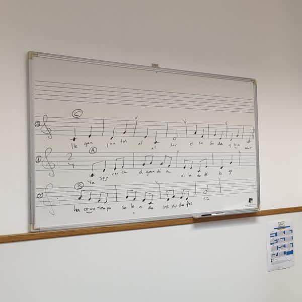 Pizarra blanca con notas musicales