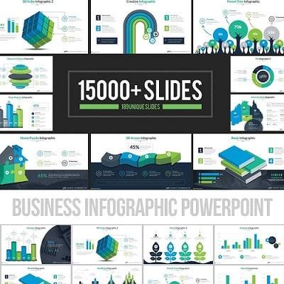 Plantilla PowerPoint con infografías de negocio