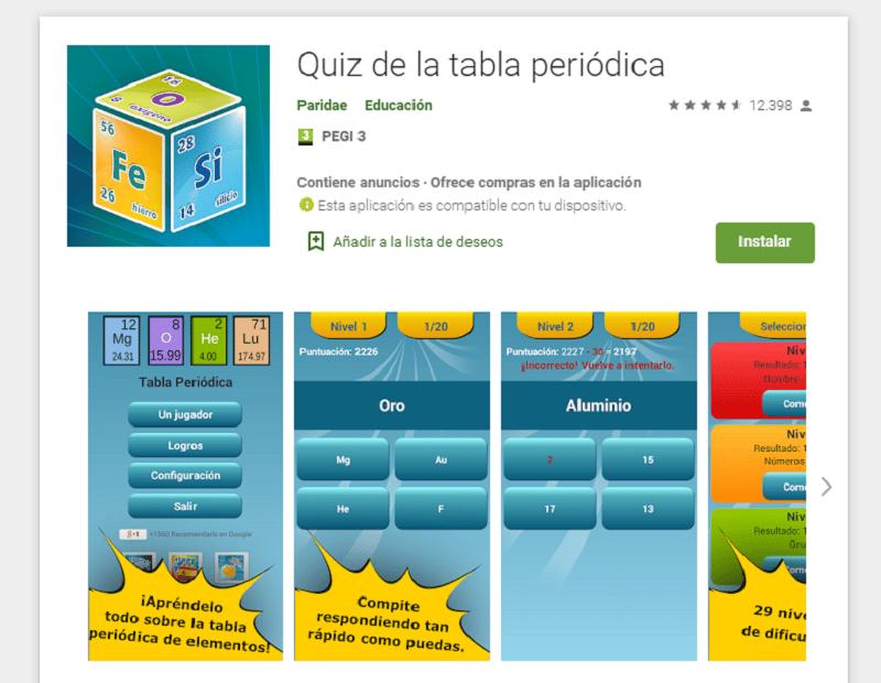 Apps para repasar la tabla periódica: Quiz de la tabla periódica