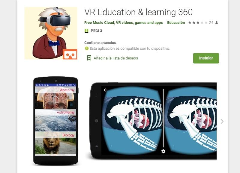 Education & learning (Apps para aprender con la realidad virtual)