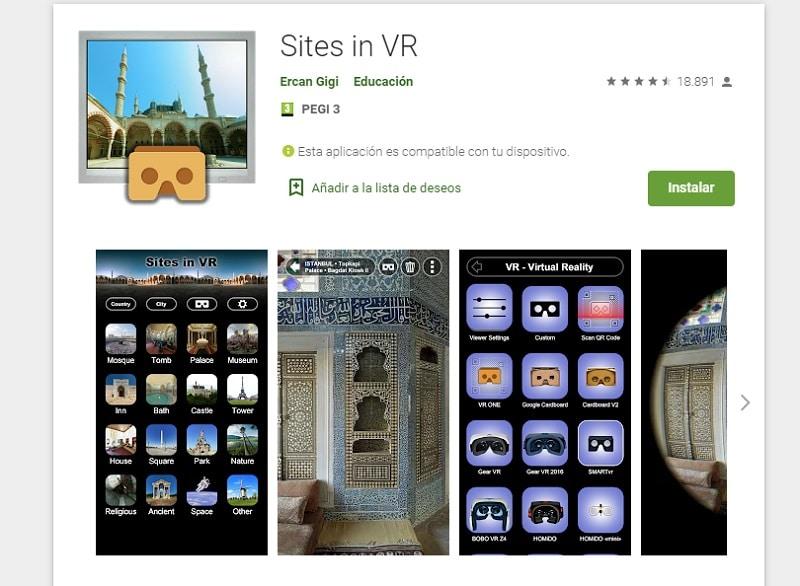 Sites in VR (Apps para aprender con la realidad virtual)