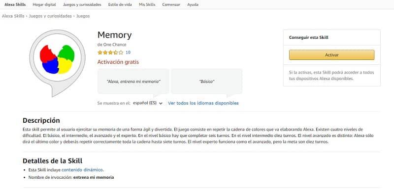 Memory (skills de Alexa para trabajar la memoria)