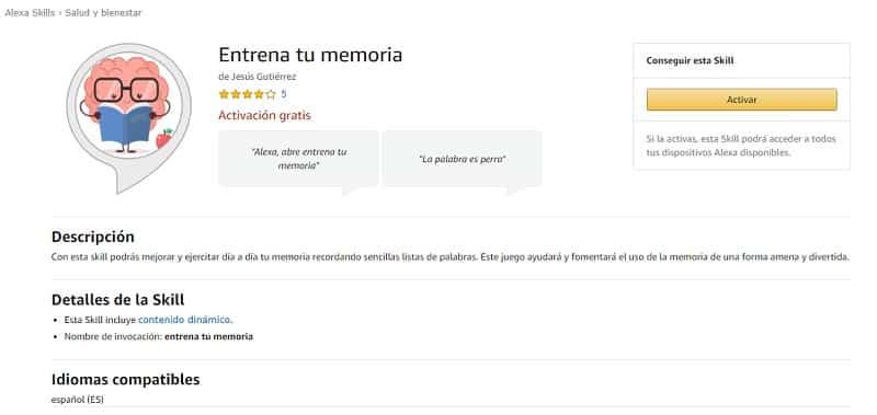 Entrena tu memoria (skills de Alexa para trabajar la memoria)