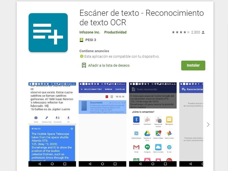 Escáner de texto - Reconocimiento de texto OCR